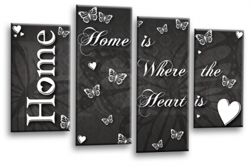 Home Quote Wall Art Picture Grey White Love Split Print
